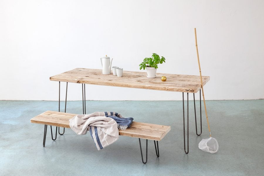Tisch auf HairPin Beinen UpCycle Berlin
